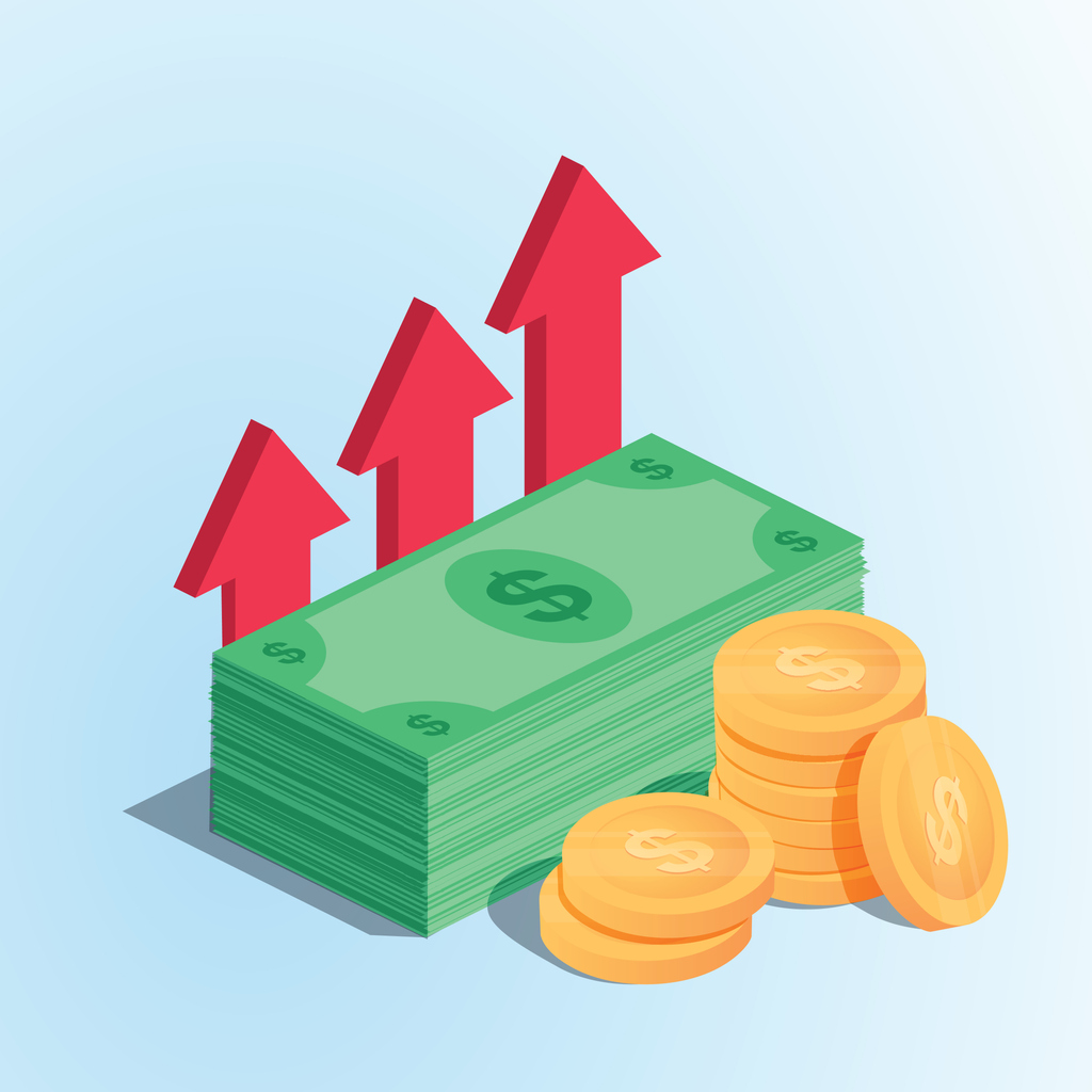 Profit money or budget vector illustration, flat cartoon pile of paper cash and rising graph arrow up, concept of business success