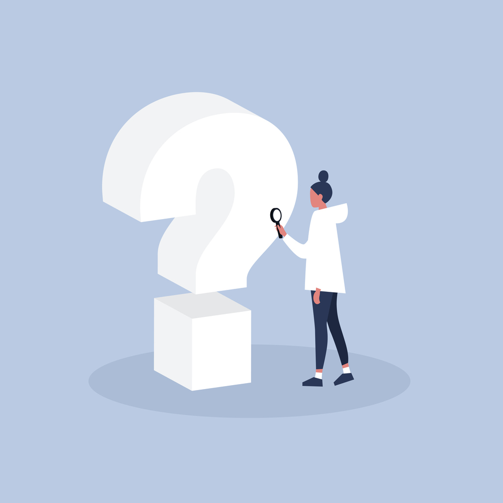 Question 3D sign. Young female character looking through the magnifying glass / flat editable vector illustration, clip art
