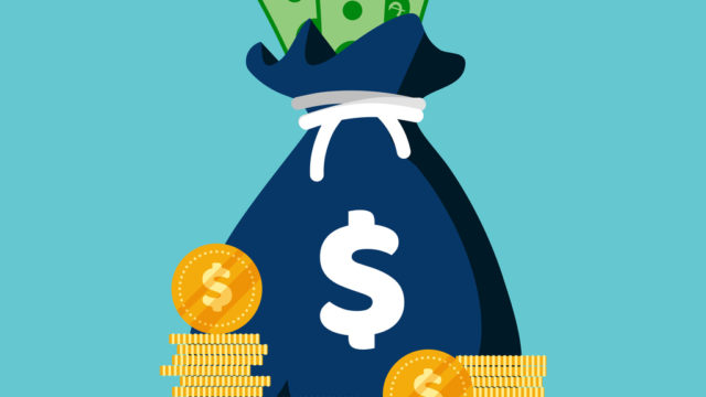 Moneybag simple cartoon infographics isolated on blue background.Moneybag simple cartoon infographics isolated on blue background.
