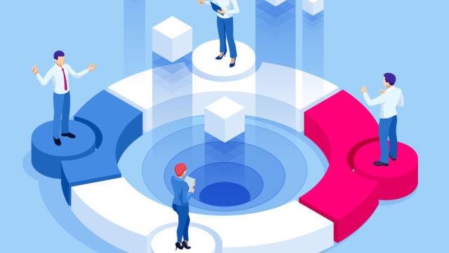 Isometric Referral marketing, network marketing, referral program strategy, referring friends, business partnership, affiliate marketing concept.