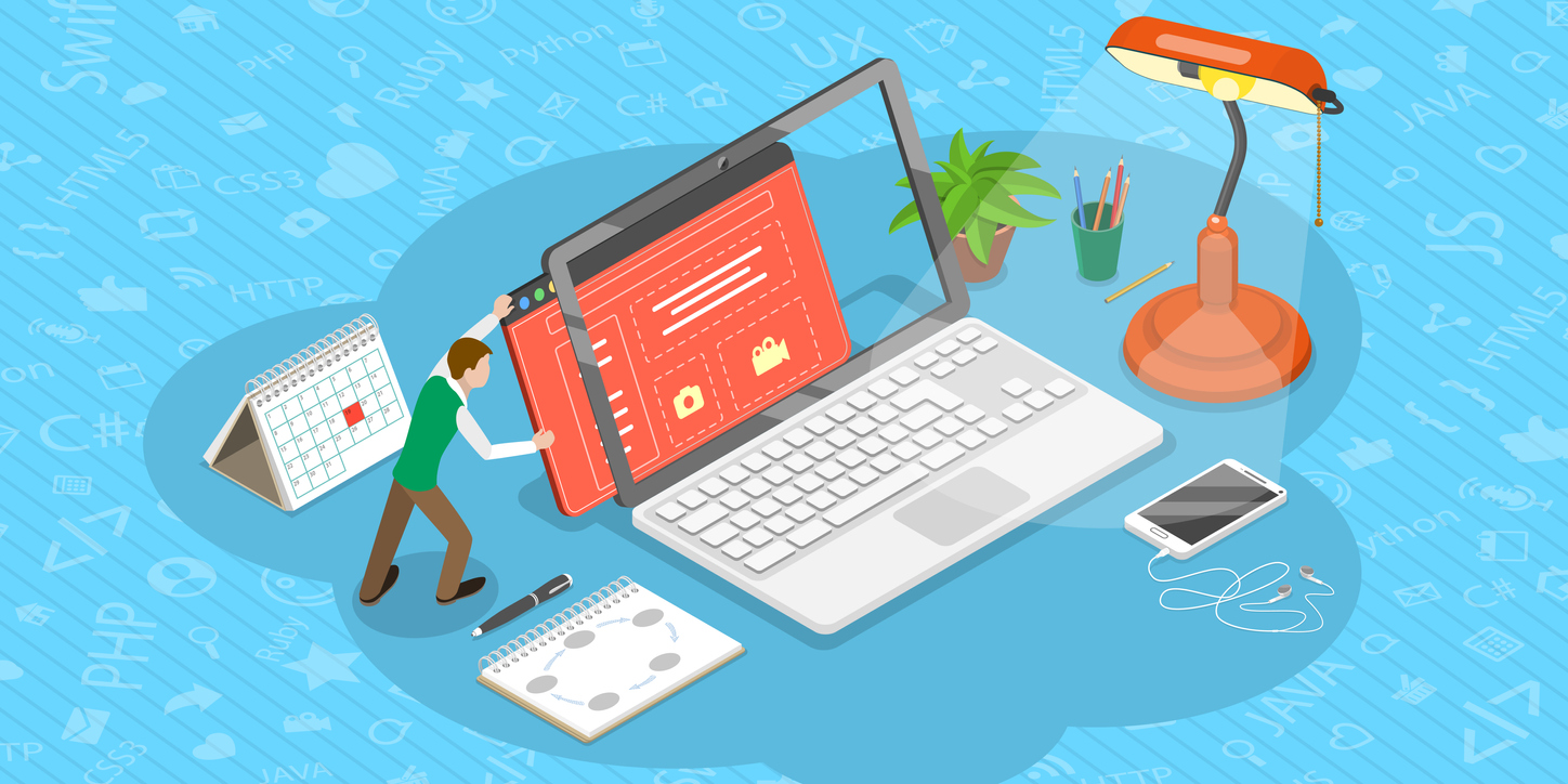Isometric Flat Vector Concept of Web Page Design Update.