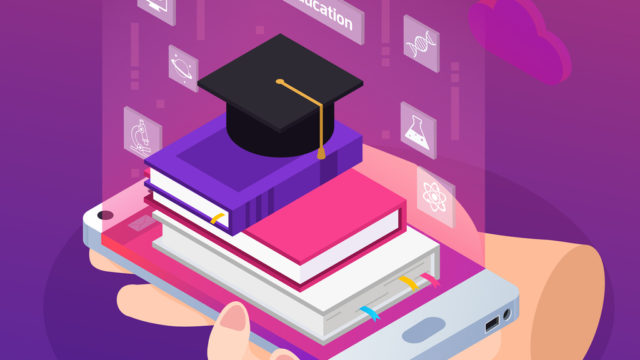 e-learning distance education glow isometric composition