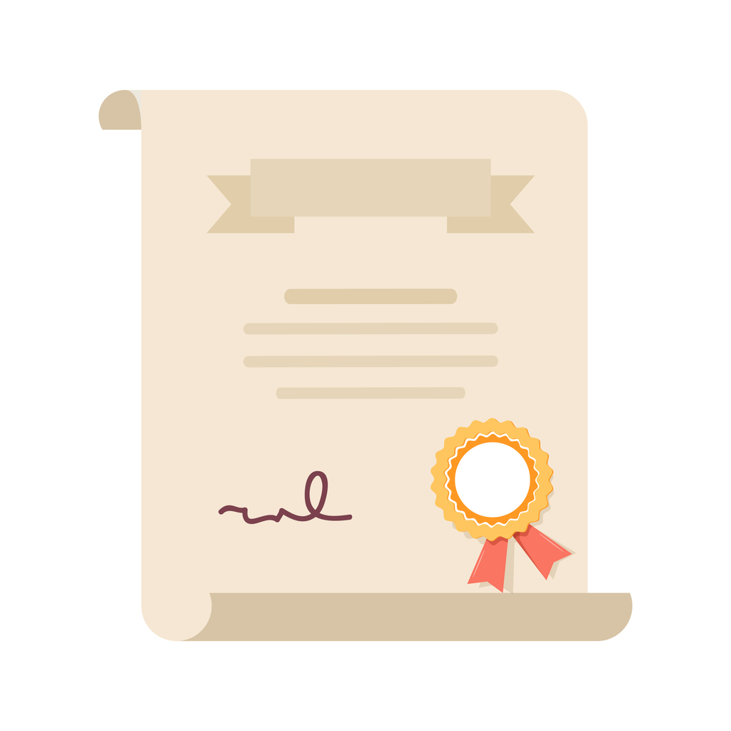 Degree certificate or contract. Graduate degree charter, license quality icon. Diploma, award or achievement with stamp.